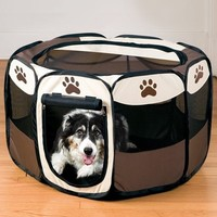 Best ing Pet Fence Dog Kennel Puppy Soft Playpen Exercise Pen Folding Pet Cage Dog Supplies Pet Products Coffee HT0008 bags
