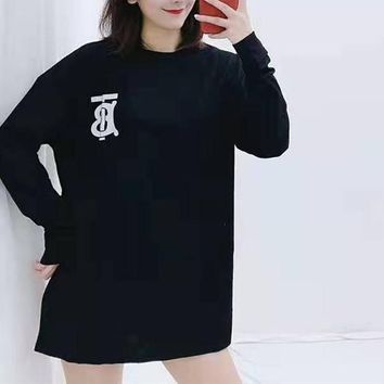 """TB""Woman Leisure Fashion Letter Personality Printing  Loose Long Sleeve Tops Skir"
