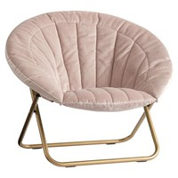 Dusty Blush Lustre Velvet Channel Stitch Hang-A-Round Chair