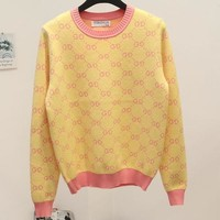 Gucci Women Fashion Print Knit Top Sweater Pullover