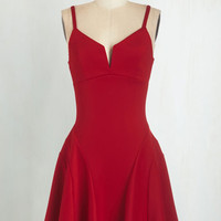 Mid-length Spaghetti Straps Fit & Flare Take it from the Top-Notch Dress in Red by ModCloth