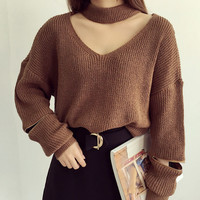 Zipper Sleeve V-neck Knitted Sweater sold by Moooh!!