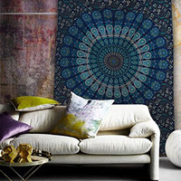 Popular Handicrafts Mandala Bohemian Psychedelic Intricate Floral Design Indian Bedspread Tapestry 54x84 Inches,(140cmsx215cms) Blue