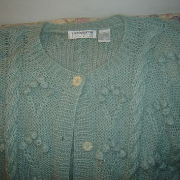 Womens Liz Claiborne Seafoam Green Mohair Blend Cardigan Sweater M Medium Popcorn Knit