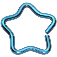 """16 Gauge 5/16"""" Teal Hollow Star Closure Daith CartilageTragus Earring 