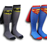 Batman Superman Socks Knee High With CAPE male