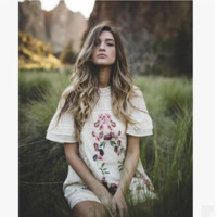 """""""Free People"""" Fashion Retro Lace Stitching Floral Embroidery Short Sleeve Mini Dress"""