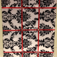 Damask Black Red White Memo/Picture Board 16 by EllaTaylorBoutique