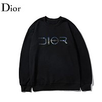 DIOR Fashion New Reflective Letter Print Womern Men Long Sleeve Top Sweater Black