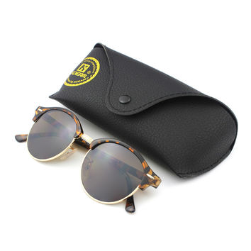 Quality New Kdeam Vintage Round Sunglasses Women High-street Steampunk Glasses gafas de sol Male Fit With Leather Case 4246