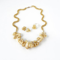 Yellow Gold Stone Statement Necklace, Crystal Druzy Raw Stone Jewelry Set of Matching Earrings and Ring