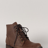 Zipper Military Lace Up Booties