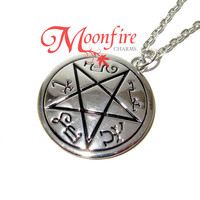 SUPERNATURAL Devil's Trap Pentagram of Solomon Symbol Necklace