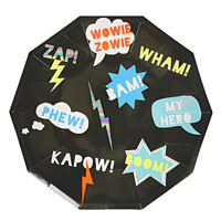 Super Hero Paper Plates, Gold Goil, Birthday Party, Doughtnut,Party, Gold Foil ,Pink , Wedding Celebration, Birthday Party