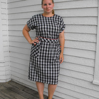 Vintage Button Back Plaid Gingham Dress Black White Red XL 16