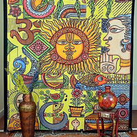 Om Vintage Multi Color Yoga Tapestry Hippie Double Tapestries Hanging DBS0050