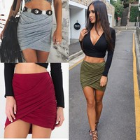 Fashion  Lady High Waist Short Skirt   Bandage