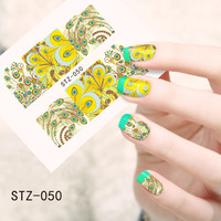 1pcs New DIY Polish Decals Manicure Beauty 3d Nail Art Stickers Water Transfer Full Cover Tips Peacock Pattern STZ050