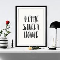 Home Sweet Home, House Warming Foyer Wall Art Entry Way Wall Art Home Sweet Home Home Decor Apartment Decor WATERCOLOR TEXT Instant Dwonload