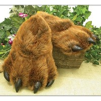 Wishpets Large Brown Grizzly Bear Paw Slippers, Brown with Black Claws