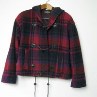 90s cropped plaid winter coat with toggles
