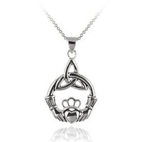 """Sterling Silver Claddagh Celtic Knot Pendant Necklace with Rolo Chain, 18"""""""