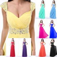 New Chiffon Cap Sleeve Long Formal Prom Dresses Party Bridesmaid Evening Gowns