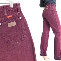 Sz 10 L High Waisted Wrangler MWZ Mom Jeans - 80s 90s Vintage Straight Leg Maroon Long Tall Women's Jeans - Colored Denim Cowgirl Dungarees