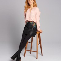 Floral Embroidered Faux Leather Mini Skirt
