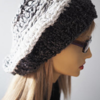 crochet slouchy beret / knit dreads hat / charcoal gray rasta hat / white and gray large beret / OOAK / fall find / teen girl hat
