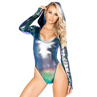 Holographic Hooded High Cut Rave Bodysuit