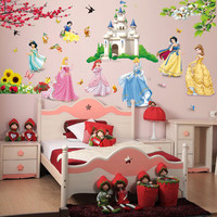 removable diy seven princess birds flower castle wall stickers home decor 5102. for kids rooms girl children's bedroom sticke SM6