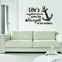 Lifes Roughest Storms Quote Decal Wall Vinyl Art Inspirational Anchor