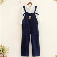 Mori Girl Corduroy Overalls Beverage Cup Embroidery Strap Pants