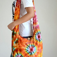 Tie Dye Cotton Bag Handbags Beach Bag Hippie Hobo Bag Boho Bag Shoulder Bag Sling Bag Messenger Bag Crossbody Purse, Orange Balloons