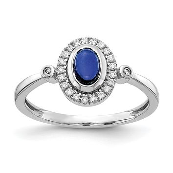 14k White Gold Real Diamond and Oval Cabochon Sapphire Halo Ring