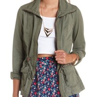 STUDDED ZIP-UP ANORAK JACKET
