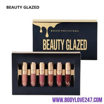 6Pcs/set  Liquid Matte Lipstick Easy To Wear Long-lasting Lip Gloss