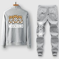 Boys & Men Moschino Fashion Casual Edgy Cardigan Jacket Coat Pants Trousers Set Two-Piece