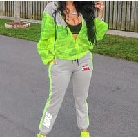 NIKE Fashion Women Print Hoodie Long Sleeve Top Pants Sweatpants Two-Piece Set Fluorescent Green