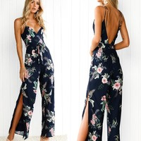 2018 Sexy V-Neck Print Sleeveless Jumpsuit