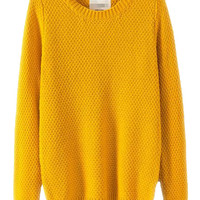 Yellow Sweater In Structured Knit - Choies.com
