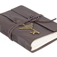 Dark Brown Leather Journal - Winged Clock Key - Travel Journal  - Lined Paper - Prayer Journal - Ready to Ship -  -