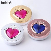 Imixlot Round Heart Cover Contact Lens Case with Mirror Plastic Contact Lenses Case Container Cute Lovely Travel Kit Box Women