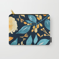 Teal and Golden Floral Carry-All Pouch by noondaydesign