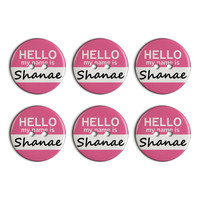 Shanae Hello My Name Is Plastic Resin Button Set of 6
