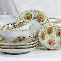 Antique Cups and Saucers, Bone China Teacups, Hand Painted Tea Cups and Saucers 12468