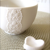 New Lovely Porcelain Lace Bowl with White Heart by Hideminy