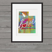 Utah Love - UT Canvas Paper Print:  Grunge, Watercolor, Rustic, Whimsical, Colorful, Digital, Silhouette, Heart, State, United States