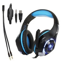 Gaming Headset, Led Light GM-1 Headphone for PS4 PSP Xbox one Tablet iPhone Ipad Samsung Smartphone, with Adapter Cable for PC (Blue)